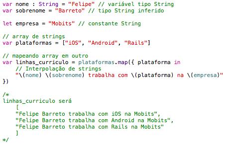 Exemplo de sintaxe Swift